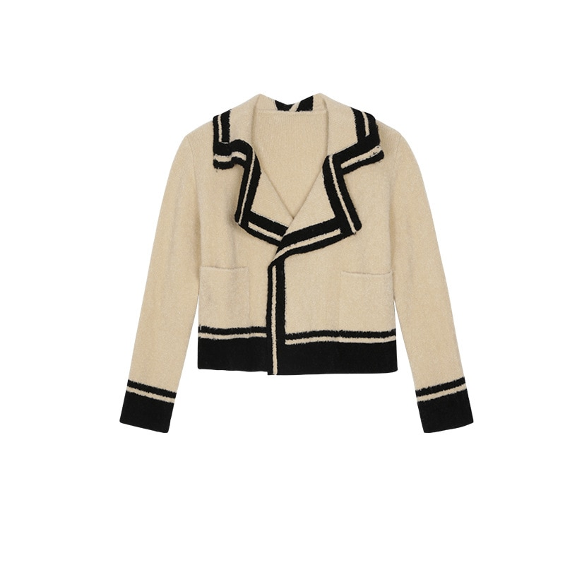Womens Loose Fit Knitted Cardigan Sweater Long-Sleeve Lapel Notch Collar Office Lady Contrast Color Loose Cardigan Coat enlarge