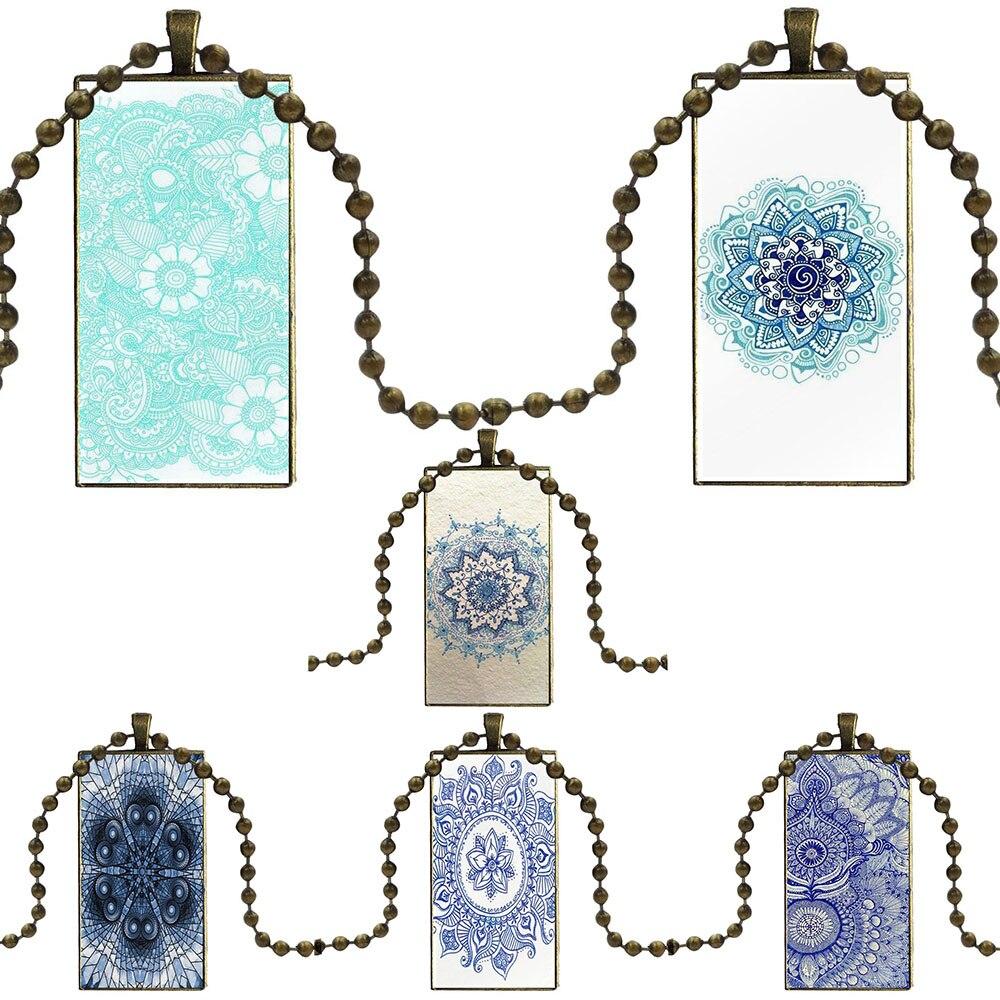 Mandala azul Henna estilo para las mujeres de boda regalo de cristal cabujón gargantilla colgante collar con dije de rectángulo de acero Color joyería