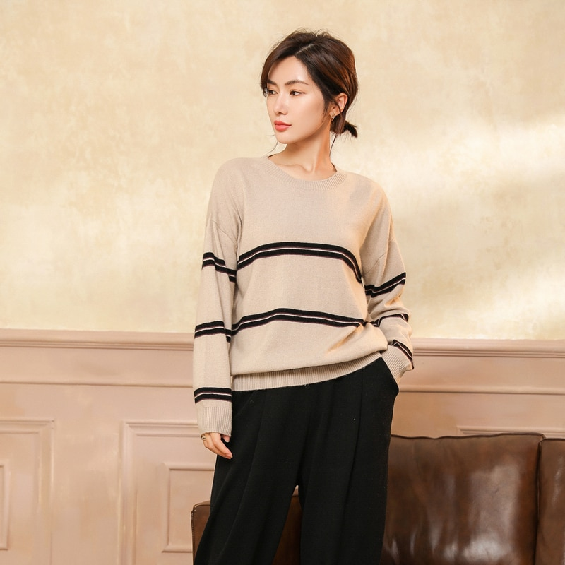 adohon 2021 woman winter 100% Cashmere sweaters and autumn knitted Pullovers High Quality Warm Patchwork thickening O-neck enlarge