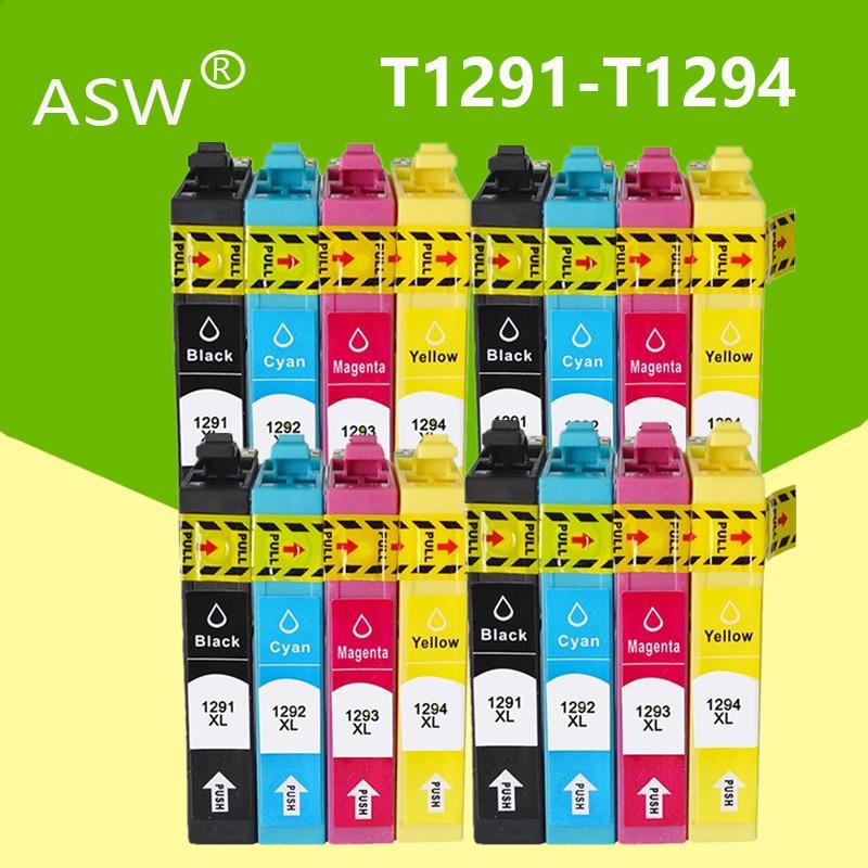 ASW T1291 T1292 T1293 T1294 cartucho Compatible para Epson Stylus SX235W SX230 SX420W SX425W SX430W SX435W SX440W SX445W