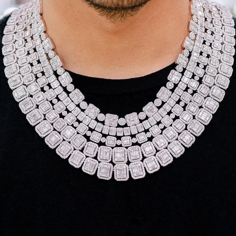 TOPGRILLZ New 13mm Personality Iced Out Baguette Necklace Miami Cuban Chain Micro Pave Cubic Zirconia Hip Hop Jewelry For Gift