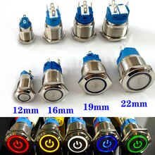 12/16/19/22มม.กันน้ำโลหะ Push ปุ่มสวิทช์ LED Light Momentary Latching รถเครื่องยนต์ Power 5V 12V 24V 220V สีแดงสีน้ำเงิน