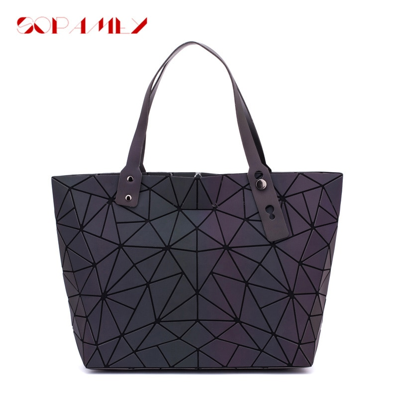 New Bao Bag Women Handbag Diamond Lattice Tote Shoulder Bags Quilted Luminous Sequins Plain Bag Ladies Folding Handbags bolso