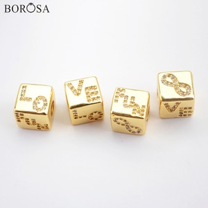 BOROSA Special Symbol Metal Beads for Jewelry Making Micro Pave Cubic Zirconia Beads Different Patterns Bead for Bracelet WX1337