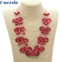 bohemian statement necklaces charm beaded necklace for women handmade wooden many lines long necklaces party accessories