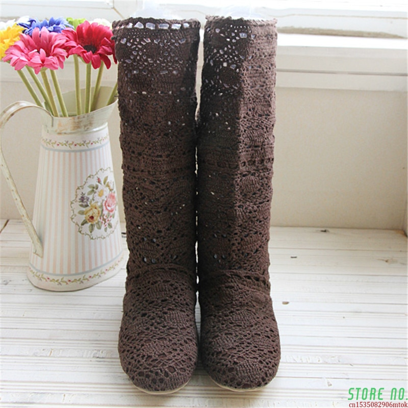 Crochet Summer Boots Boots 2021 New Shoes Lace Hollow Crochet Boots XL Hollow Fashion Women's Boots 34-43