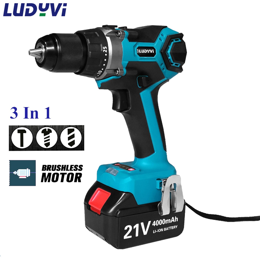 21V Powerful Electric Screwdriver 13mm 110N/M 25+3 Torque Brushless Cordless Drill Makita 4.0 Battery Power Tools Impact Drill 3 in 1 13mm brushless electric hammer drill electric screwdriver 20 3 torque cordless impact drill for makita 18v battery