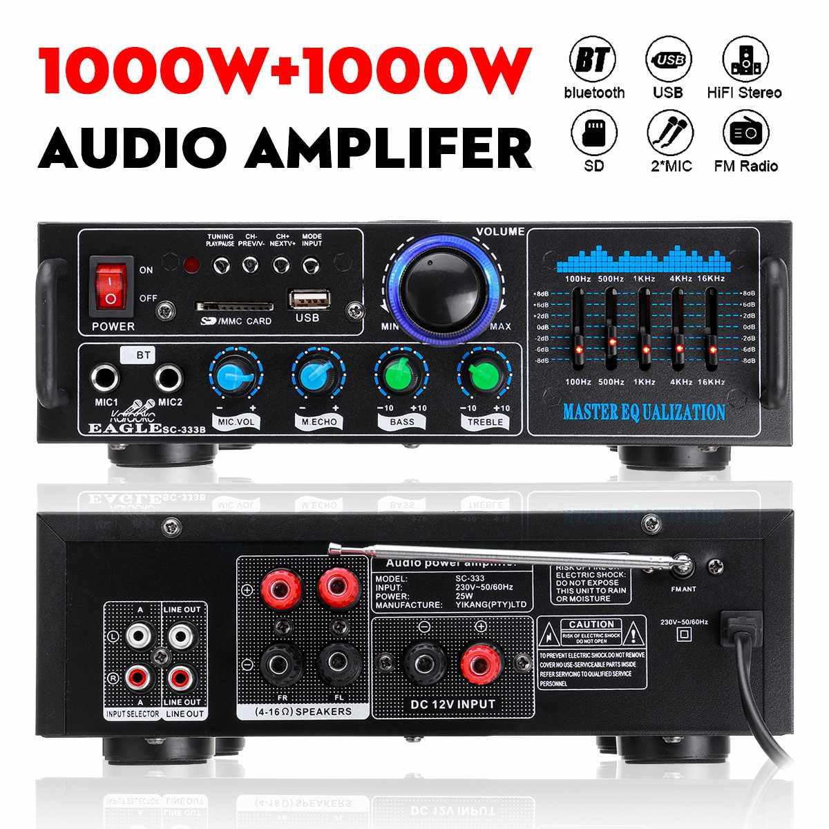 2000 واط بلوتوث مكبر صوت استيريو المحيطي جهاز دمج صوتي وظيفة FM AUX USB SD أمبير السينما المنزلية كاريوكي التحكم عن بعد مع 2Mic