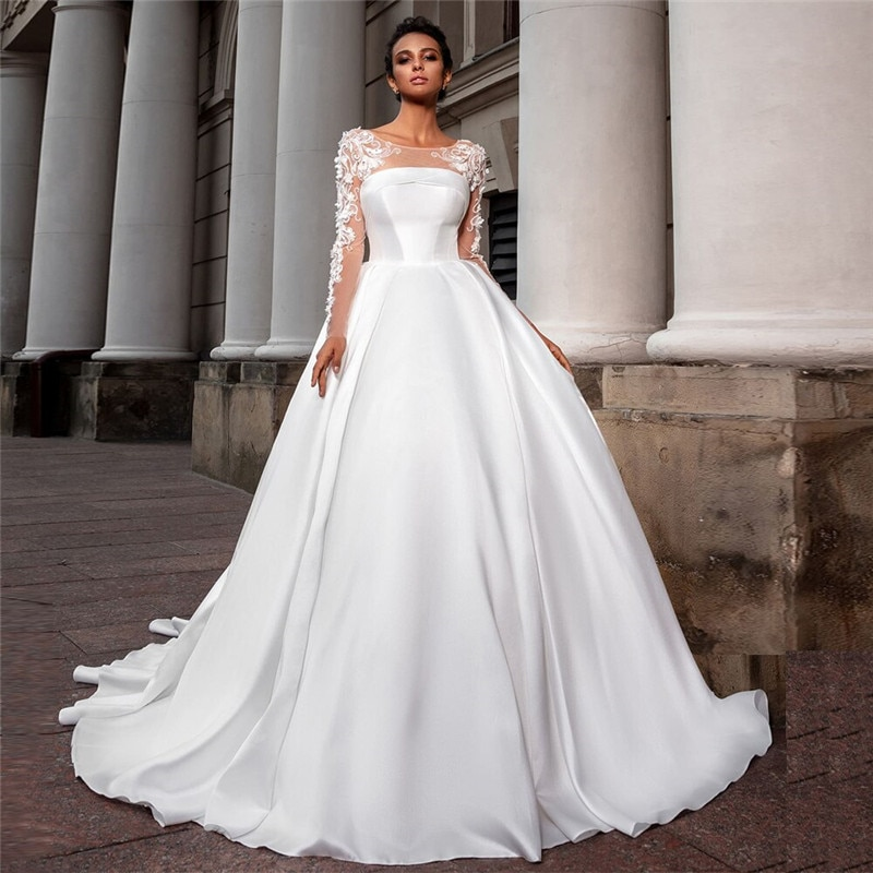 luxury long tail satin red bling ball gown wedding dresses newest sexy designer bridal wedding gowns with sleeves Scoop Long Sleeves Ball Gown Satin Lace Appliques Wedding Dresses Princess Bridal Gowns Garden Custom Made Formal Long