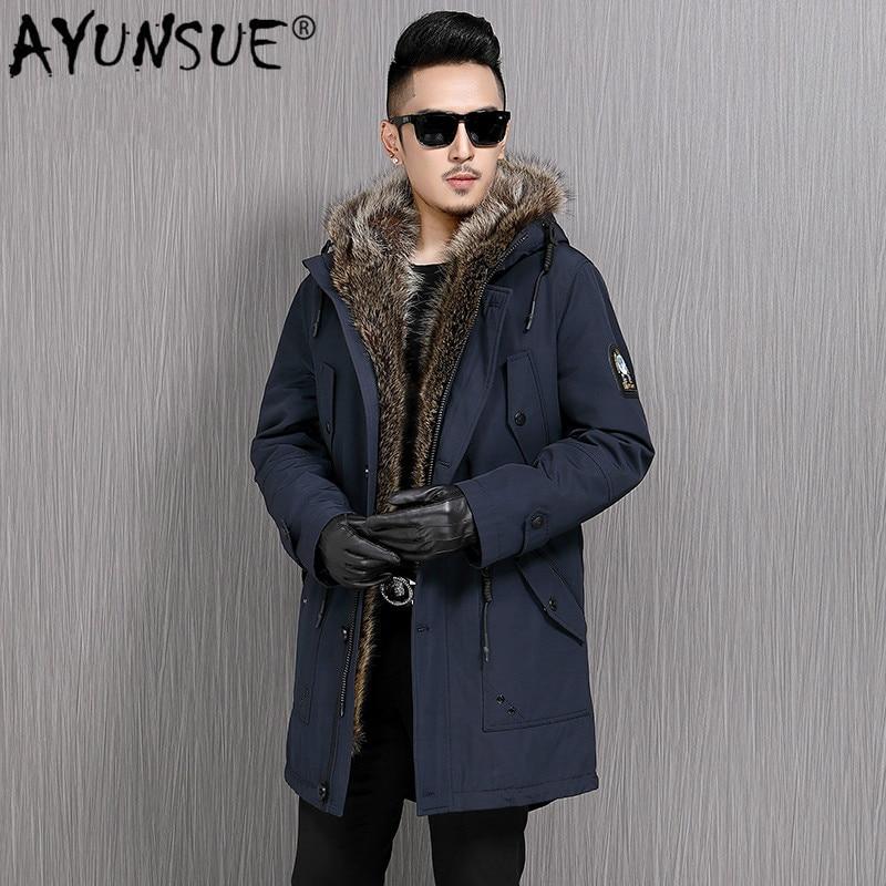 AYUNSUE-معطف شتوي للرجال ، معطف فرو حقيقي بغطاء للرأس ، بطانة من فرو الراكون الطبيعي ، سترات دافئة من الفرو الأصلي ، 16-7731