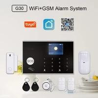 KOOGOGO     Kit systeme dalarme de securite domestique sans fil  wi-fi  Gsm  433MHz  11 langues  Tuya  controle avec applications  clavier tactile LCD