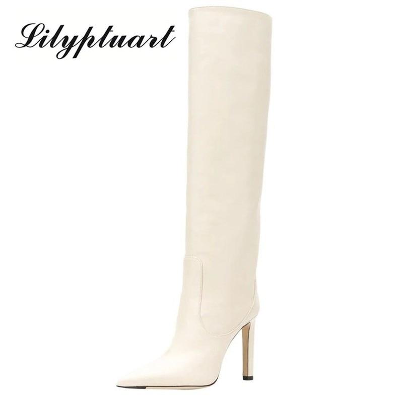 العلامة التجارية عالية الكعب الأحذية الغربية موضة حذاء برقبة للركبة امرأة ستوكات الأحمر عالية الكعب أحذية طويلة أشار تو الفخذ أحذية عالية