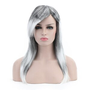 Free Beauty 20'' Long Straight Grey Synthetic Witch Wig with Side Bangs for Women Halloween Cosplay Party Costume Make Up