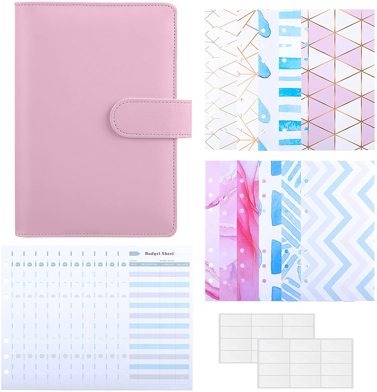 A6 PU Leather Binder Budget Cash Envelopes System Budgeting Planner Organizer, 12PCS Cash Envelopes, 12PCS Expense Budget Sheets