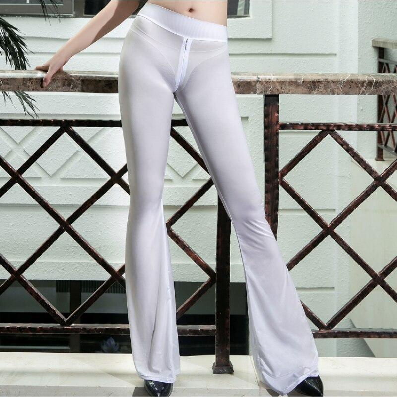Sexy zíper aberto virilha alargamento calças para mulher transparente ultra-fino oleosa brilhante fishtail calças de fitness boot corte erótico calças