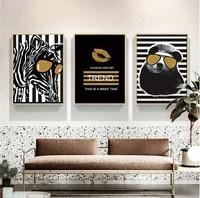 Abstrait noir blanc Animal dans la mode affiche toile impression peinture mur Art salon decoration de la maison