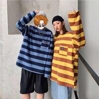 mens t shirt autumn spring striped long sleeve o neck japan style harajuku tops streetwear hip pop couple clothing cotton
