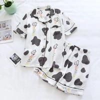 2021 ladies soft pajama sets cow printed cartoon womens sleepwear crepe cotton double layer gauze button down female pyjamas