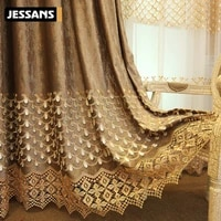 custom northern europe flannel embossed embroidered blackout curtains tulle for living room dining bedroom luxury curtains