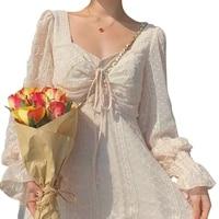 summer french vintage dress women flare sleeve square collar slim lace dresses women elegant retro pink vestidos female cx1814