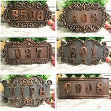 Abs Imitatie Metalen Brons Antiek Koper Huis Nummer Custom Teken Deur Nummer Sticker Voor Voor Hotel Appartement Villa Deur