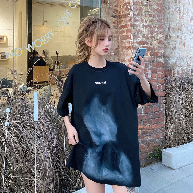 Harajuku Style Loose Personality Printed Short Sleeve T-shirt Summer Top Women Tshirt Kawaii Aesthet