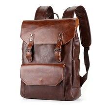 Bussiness-sac à dos en cuir Pu pour hommes, sacoche Vintage imperméable Sport, sacoche décole, de marque pour ordinateur portable plat
