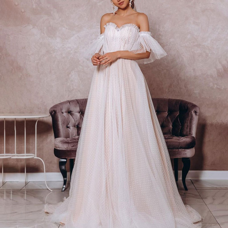 Promo Temperament Wedding Dress Heart-shaped Collar Heart-shaped Collar Tulle Wedding Dress Fairy Skirt Suitable for Formal Occasions