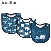 3pcs/lot Newborn Infant Baby Bids Adjustable Boys Girls Soft Breathable Cotton Animal Print Cute Feeding Bibs Baby Product