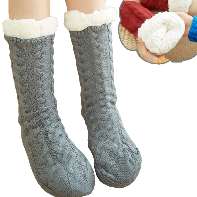 TOIVOTUKSIA/зимние женские теплые носки, хлопковые трикотажные Нескользящие очень плотные мягкие носки, бархатные теплые женские носки для дево...