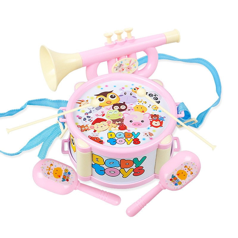 Juguetes musicales suaves para bebés, niños, instrumento de tambor de palmada alegre, 4 Uds., juegos de tambores de Jazz, educación para niños, música, percusión de iluminación