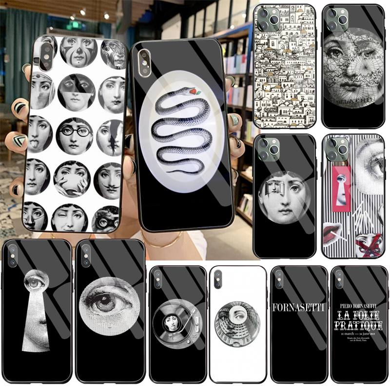 Fornasetti, funda negra de silicona suave para teléfono, funda de cristal templado para iPhone 11 Pro XR XS MAX 8X7 6S 6 Plus SE 2020