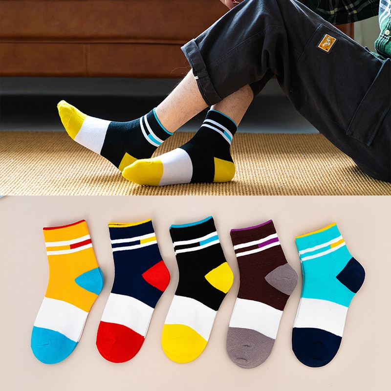 Japanese color matching men's socks new striped color matching tube socks college style cotton socks street trend socks color matching striped snap button up jacket