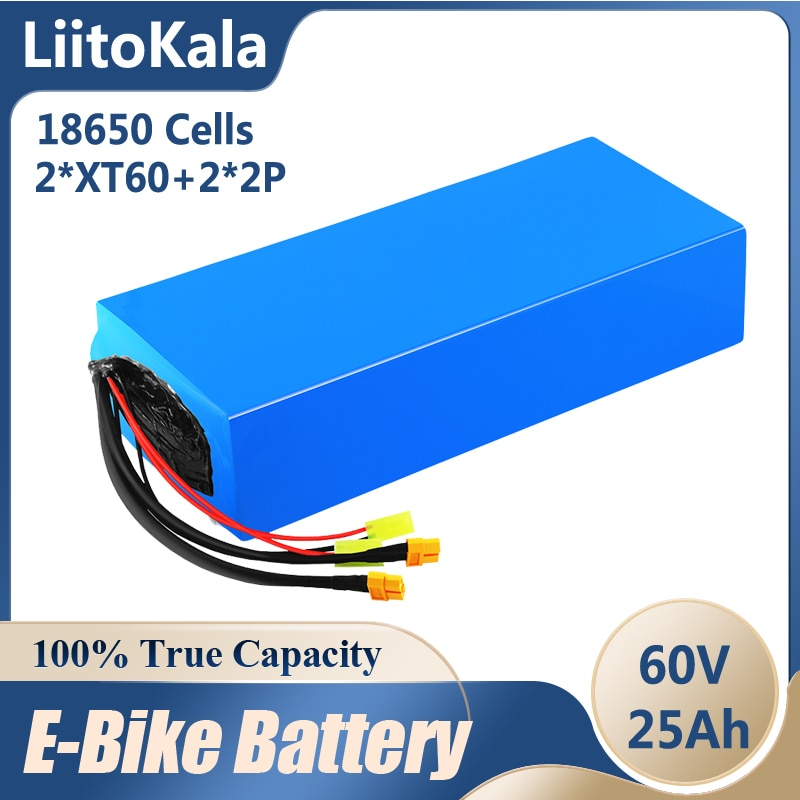 LiitoKala 60 فولت ebike بطارية 60 فولت 25Ah 16S8P 18650 بطارية أيون الليثيوم دراجة كهربائية بطارية 60 فولت 3000 واط بطارية سكوتر كهربائي