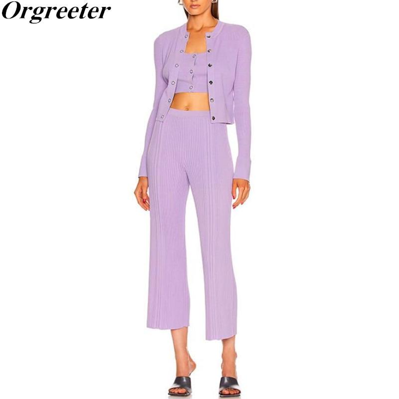 Diseño de pasarela de punto de 3 piezas, conjunto de Chaqueta de punto con botones de Metal púrpura + Chaleco Corto + conjunto de pantalones de pierna ancha de hilo de cintura alta