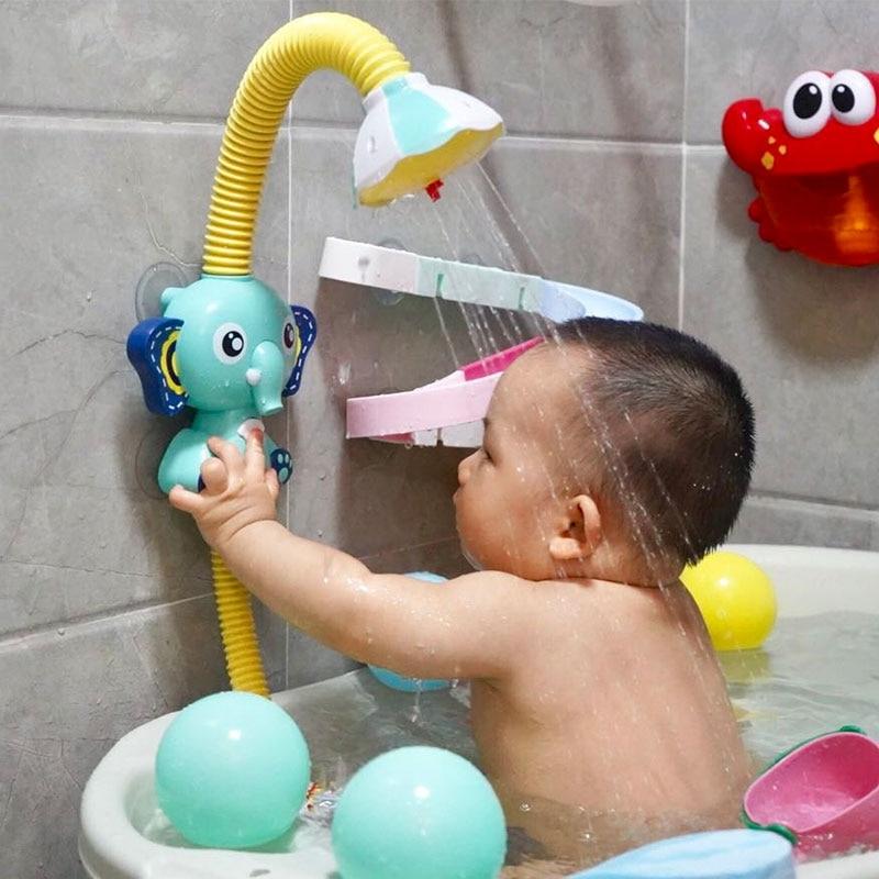 Electric Elephant Water Spray Bath Toys For Kids Baby Bathroom Bathtub Faucet Shower Toys Strong Suc