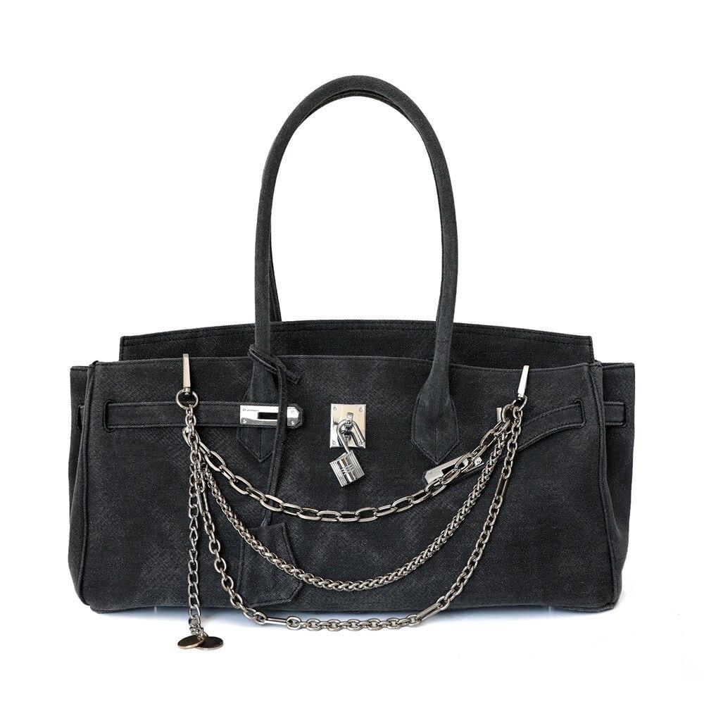 40 سنتيمتر حقيبة يد فاخرة النساء حقائب مصمم حقيبة حمل عادية كبيرة الكتف قماش الدنيم رمادي المرأة أكياس التسوق 2020