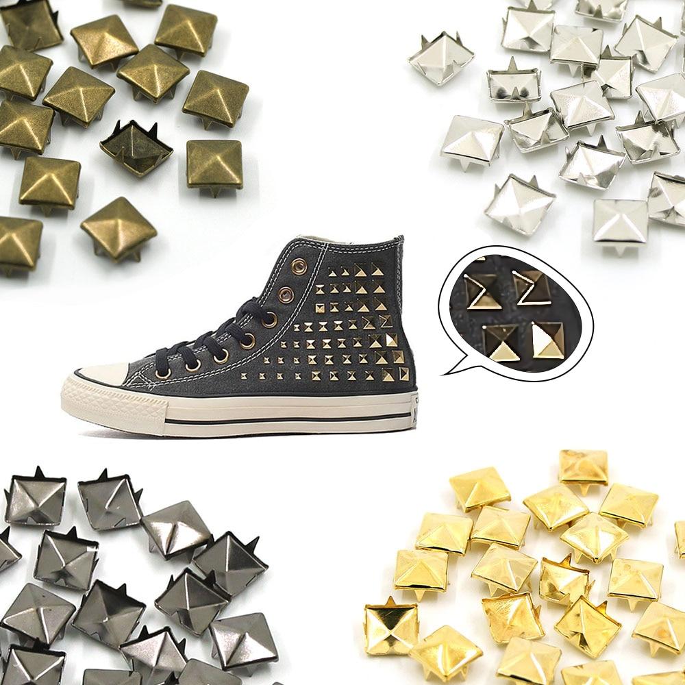 Квадратные штифты в виде пирамиды, 100 шт., металлические штифты с четырьмя когтями, заклепки для кожаных изделий в стиле панк, аксессуары для кожаных браслетов