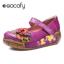 Socofy prawdziwa skóra retro kobiet płaskie buty kobieta czeski styl Vintage wiosna lato na co dzień Cmfortable buty na koturnie mieszkania