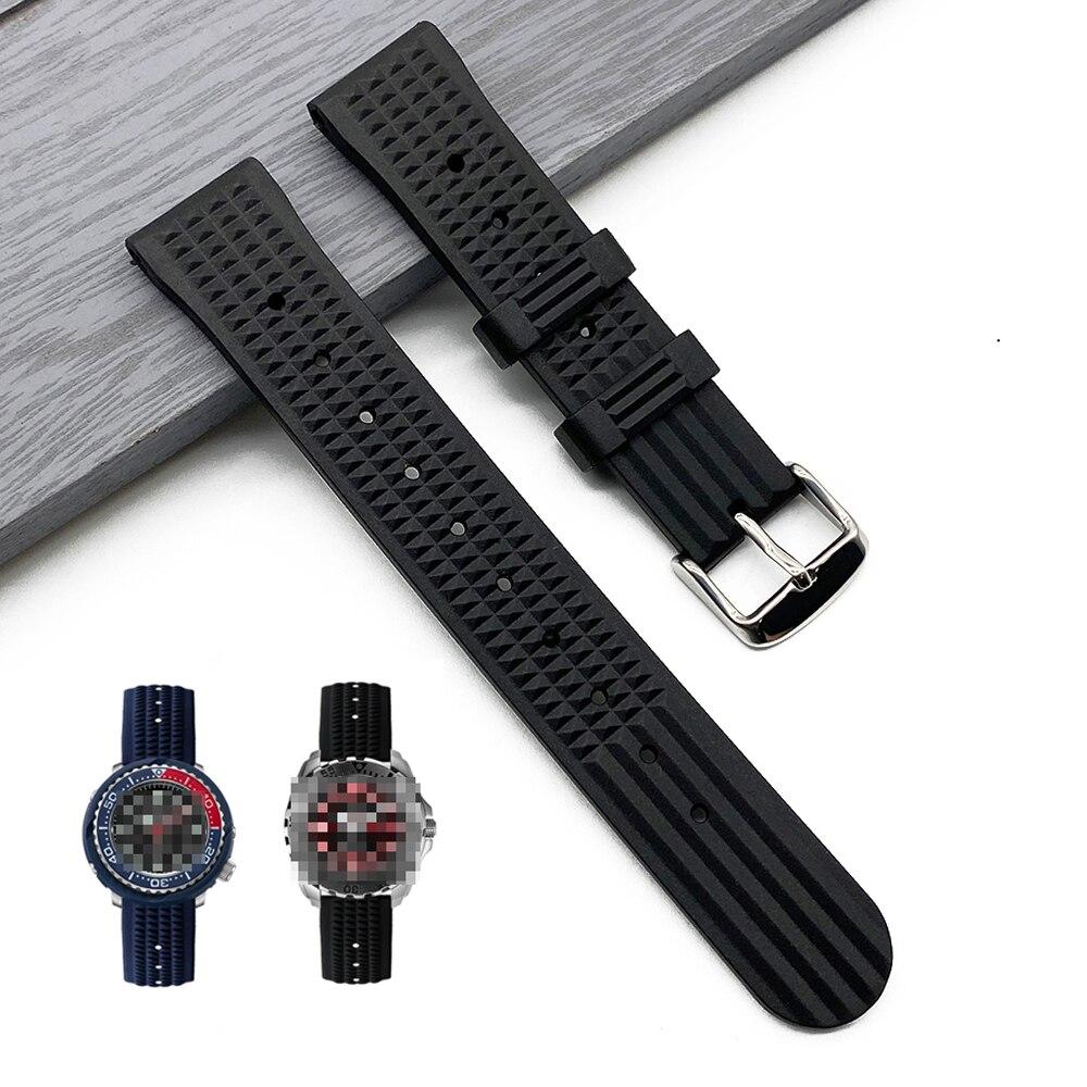 Waffle cinta 20mm 22mm alta qualidade silicone borracha pulseira de relógio para samsung huawei seiko mergulhador relógio masculino à prova dwaterproof água