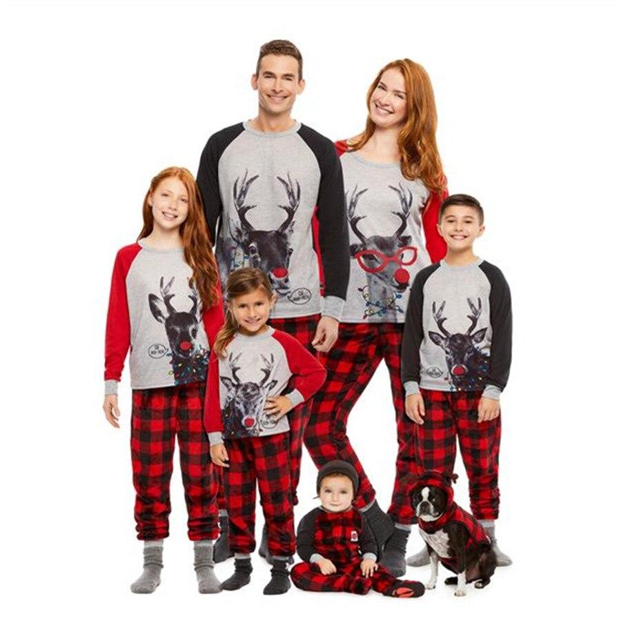 Família natal pijamas família natal pijamas primavera inverno pijamas dos desenhos animados imprimir terno para papai mamãe me QT-1939