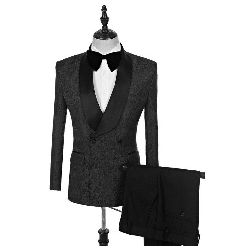Handsome Embossing Groomsmen Shawl Lapel Groom Tuxedos  Men Suits Wedding/Prom/Dinner Best Blazer(Jacket+Pants+Tie) 019