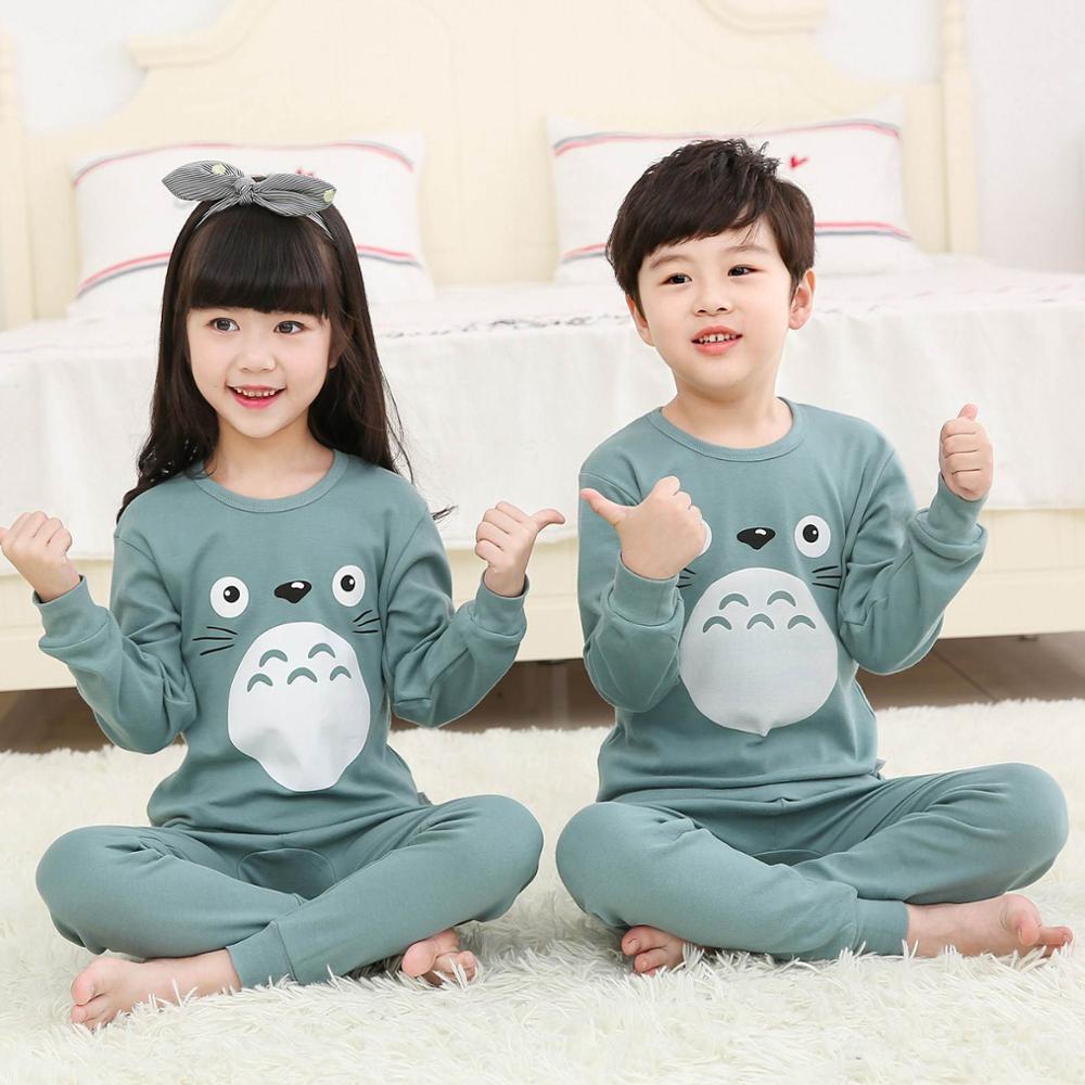 Children Pajamas Boys Totoro Cotton Clothes Pants Set Cartoon Sleepwear Kids Pajamas For Girls Toddl