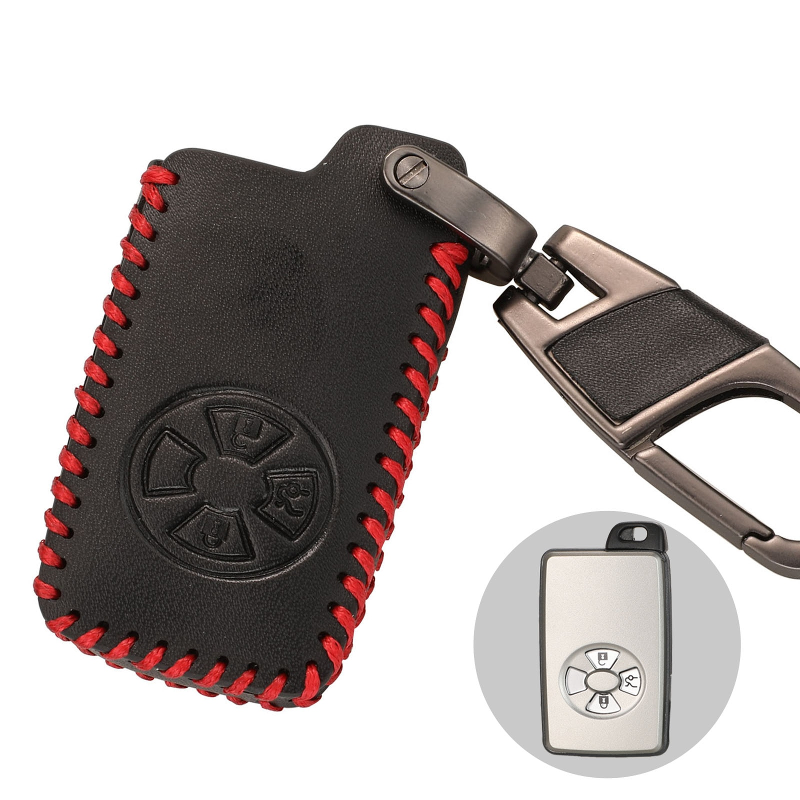 Kutery 3 Buttons Remote Car Key Case Cover For Toyota Rav4 Yaris Mark X Hilux Vitz Keys Keychain Leather Case With Key Ring