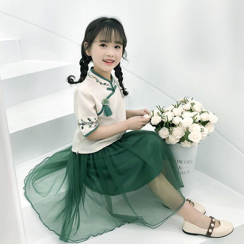 hanfu kids lovely style suit skirt fashionable summer Chinese costume girl new Hanfu lace skirt fashion printing Chinese skirt