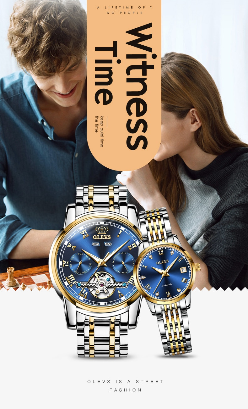 Witness your love, top brand high-end quality waterproof mechanical watch, the best gift for Valentine's Day