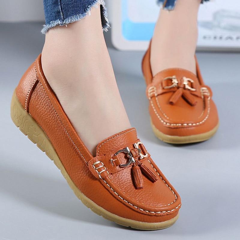 2020 novos sapatos planos femininos de couro genuíno moda casual superstar senhoras mocassins franja sólida sapato feminino macio plus size 42-44