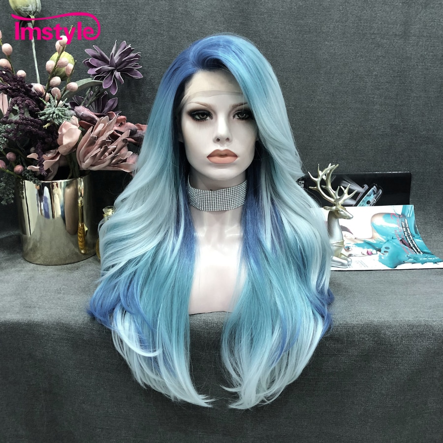 Imstyle Ombre Blue Wig Synthetic Lace Front Wig Long Natural Hair Wavy Wigs For Woman Wig Heat Resistant Fiber Cosplay Wig