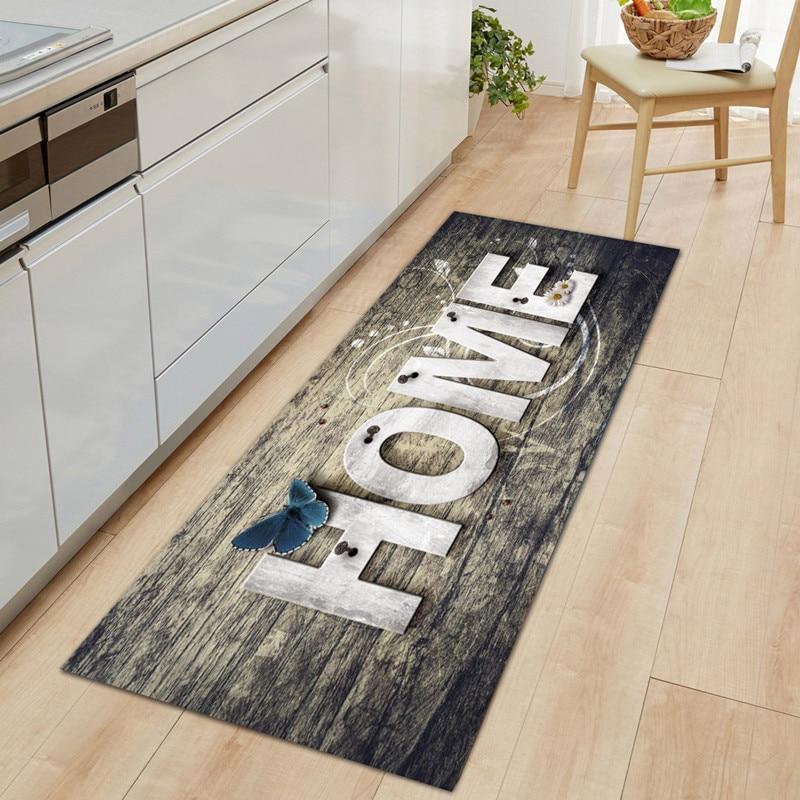Kitchen Mat Entrance Doormat for Living Room Non-Slip Bathroom Bedside Floor Mat Home Decor Long Print Washable  Modern Carpet