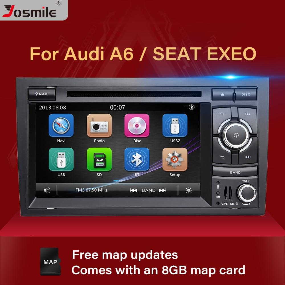 Josimle 2 Din AutoRadio coche DVD reproductor Multimedia para Audi A4 B6 B7 Seat Exeo S4 B7 B6 RS4 B7 2000-2012 GPS navegador ESTÉREO
